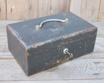 Vintage metal cash strong box with key and change tray