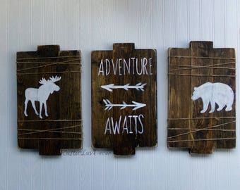 Adventure Awaits Rustic Wood Signs, Woodland Nursery Decor, Rustic Nursery Decor, Woodland Creatures Sign, Rustic Kids Bedroom Decor