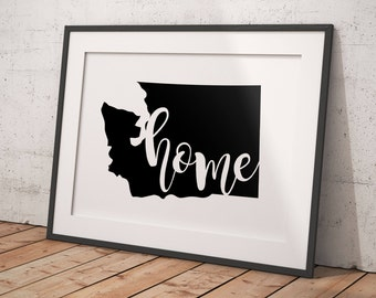 Washington State home printable | home state printable | home state silhouette | art print, wall art | Digital Download
