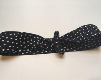 Girls' Black & White Polka Dot Headband Tie