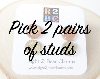 Pick 2 Pairs of Studs, Gifts Under 20, Gifts for Bridesmaids, Polymer Clay and Resin Earrings, Clay Studs, 6mm Studs, 10mm Studs