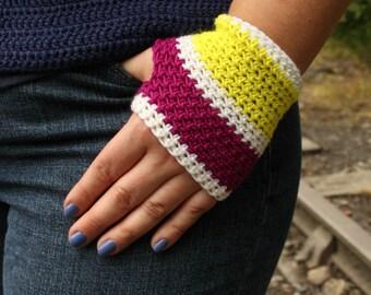 Merino/Cashmere/Silk Fingerless Handwarmers - Fuchsia, Neon Yellow and White