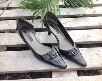 BLACK PATENT LEATHER Pumps,,,high heels size 6m
