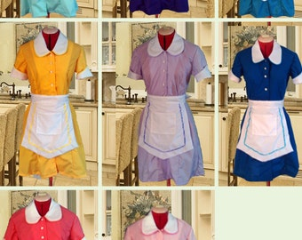 You Choose The Color Retro Diner Waitress Uniform DRESS Hostess Pinup Halloween Costume Custom Made
