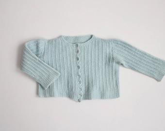 50s infant sweater | pastel blue sweater | newborn sweater