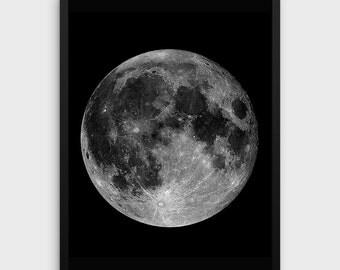 MOON PRINTABLE   Black Moon Print   Moon Wall Art   Moon Wall Print   Digital Moon Print   Full Moon   Moon Printable