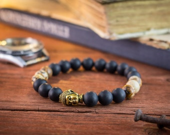 8mm - Matte black onyx & jasper stone beaded stretchy bracelet with gold Buddha, made to order yoga bracelet, womens bracelet, mens bracelet