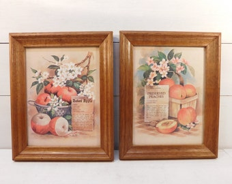 Vintage Wood Frame Peach Apple Fruit  Pictures, Farmhouse Chic, Country Kitchen