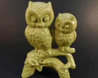 Vintage Lime Green Owl Figurine, Retro Owl, Ceramic Owl Statue