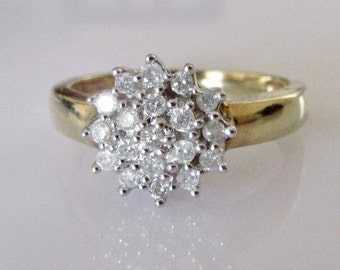 9ct Gold Diamond 0.25ct Cluster Ring Size N