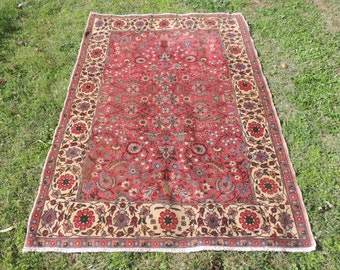 4x6 ft. Pink Persian rug floral patterns vintage persian area rugs