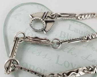 """Native American sterling toggle necklace Sterling silver chain necklace link necklace native symbols 20"""" OY2684"""