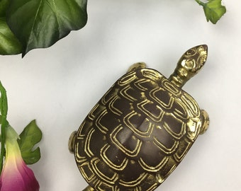 Vintage Brass Mid Century Turtle Box New Trends Coffee Table Home Decor Office Gift Turtles Storage Hinged Ring Box