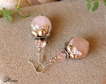 Rose Quartz Earrings, Pink Bead Earrings, Rose Quartz Jewelry, Chakra Earrings, Gemstone Earrings, Pink Silver Earrings, Bridal Earrings