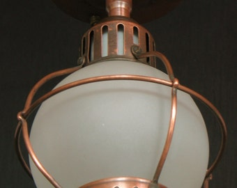 Antique Lighting: Smaller copper ceiling mount porch light with frosted glass shade, early1900s