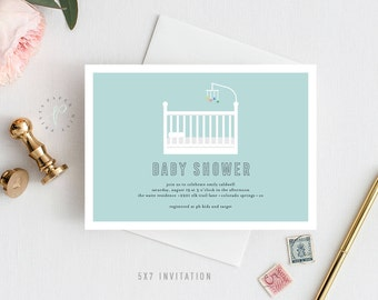 Printable Baby Shower Invitation || Modern, Baby, Baby Boy, Baby Girl, Crib, Simple, Digital File