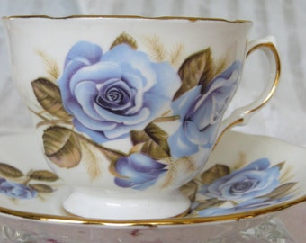 Vintage Crown Royal Blue Roses Tea Cup and Saucer Rose Garden Tea Party