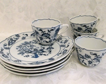 Set of Four Lipper and Mann Blue Danube Snack Set, Banner Mark - Japan