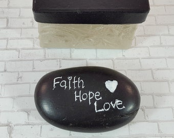 Faith Hope Love - Painted Rocks - Worry Stones - Painted Stones - Black and White Rocks - Prayer Rocks - Stocking Stuffer Gifts under 10 -