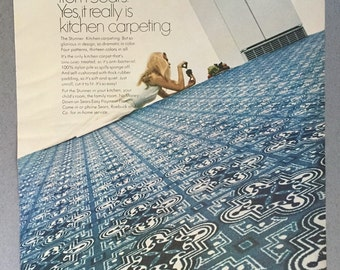 "1969 Sears Kitchen Carpeting Print Ad - ""The Stunner"""