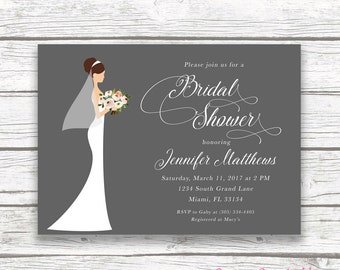 Bridal Shower Invitation, Bride Bridal Shower Invitation, Classic Bridal Shower, Wedding Dress Invitation, Printable Invite