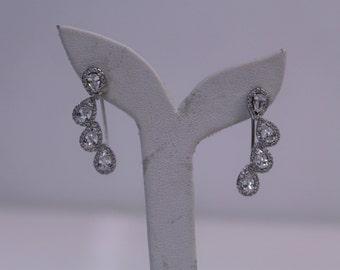 Vintage 925 Sterling Silver Falling Leaves Drop Earrings with Teardrop Shaped Cubic Zirconia Stones