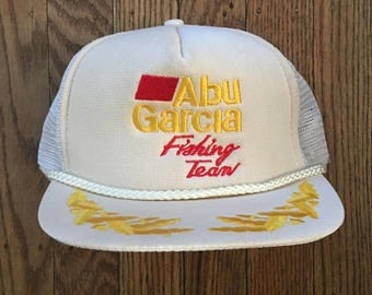 Vintage 80s 90s Abu Garcia Fishing Team Mesh Trucker Hat Snapback Hat Baseball Cap