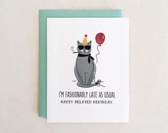 Fashionably Late Birthday Cat // Funny Belated Birthday Whimsical Red Balloon Hand Lettered Gray Yellow Blue Folded Card by Paper Pony Co.