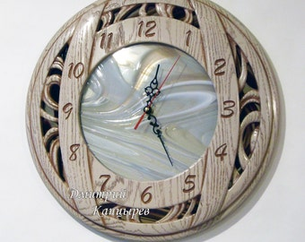 Wall clock carved oak with beige glass image effect light wood  interior decoration thing fashion brand stylish decor handmade