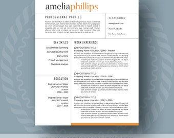 Modern Resume Template For Word, 1 3 Page Resume + Cover Letter + Reference  Modern Resume Formats