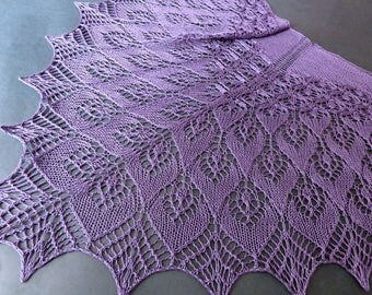 Violet Silk Lace Shawl. Knitted Shawl. Hand Knitting. Made To Order. Openwork Scarf. Summer shawl. Knit Lace