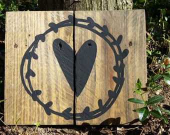 Rustic Hearts & Laurels Pallet Sign