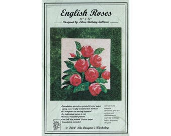 English Roses paper pieced quilt pattern by Eileen Bahring Sullivan, flower quilt pattern, paper piecing, floral foundation piecing pattern