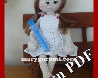 "Crochet Pattern, pattern, tutorial, Amigurumi doll, Bénédicte ""Nurse"""