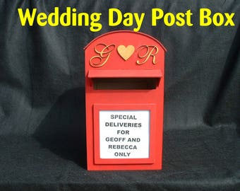 Wedding Day Laser Cut Plywood Post Box