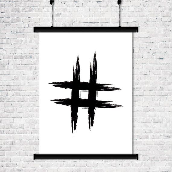 Hashtag symbol black and white printable art modern wall decor for Office design hashtags