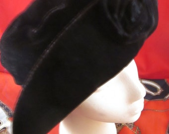 Vintage Black Velour Slouchy Style Hat with a Velour Flower in Front.