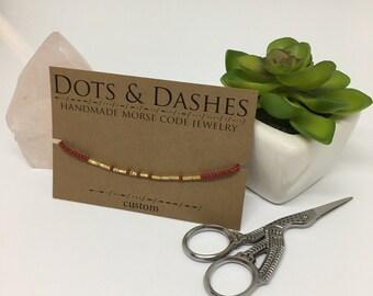 Custom Morse Code Bracelet / Custom Bracelet / Custom / Custom Gift / Custom Beaded Bracelet