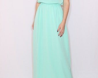 Mint green dress Long bridesmaid dress Chiffon dress Prom dress Keyhole dress