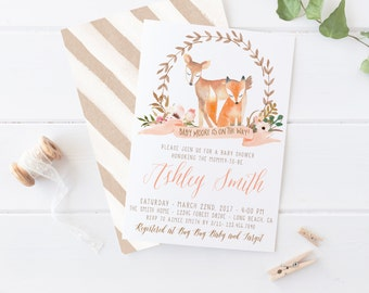 Fox and Deer Baby Shower Invitation, Woodland Themed, Girl Baby Shower, Watercolor, Printable Invites, Winter, Couple  [467]