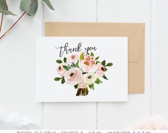 Floral Thank You Cards, Printable Thank You Cards, Country, Baby Shower  Cards