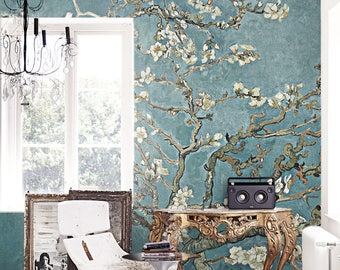 cherry blossom wallpaper chinoiserie wall mural removable wallpaper