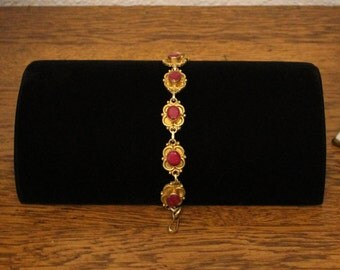 70's Vintage Palio Stauer Collection Gold Plated Over 925 Silver Bracelet with 20 Carats of  Genuine Natural Raw Ruby *FREE SHIPPING*