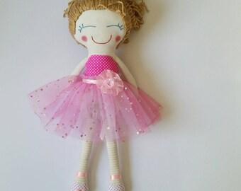ballerina doll, handmade dolls, handmade cloth dolls, cloth dolls, fabric dolls, girl doll, ballet doll, handmade rag doll, rag dolls, doll
