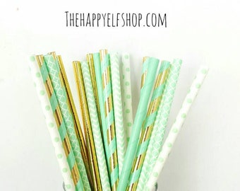 Mint and gold straw variety. Elephant party supplies. mint straws. gold straws. Baby shower. Baby sprinkle decor. Gold straws. mint party