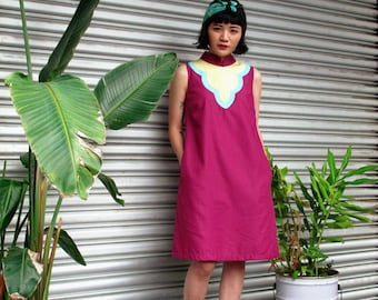 Bib Modern Qipao Dress Purple Cyan Yellow, Modern Cheongsam Dress