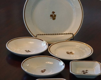 Collection of Antique Tea Leaf Ironstone China/ Wedgwood/ Meakin/ Anthony Shaw and Son/ 6 pieces/ Antique Ironstone/ Copper Lustre