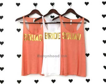 Tangerine Bachelorette Party Shirts Block Lettering Gold Glitter Oragne Bachelorette Party Tank Tops Squad Bachelorette Party Shirts Orange