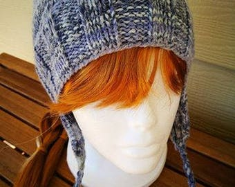 Woman's hat, knitted hat, earflap hat ,handmade, warm