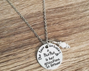 Yia Yia necklace / Hand stamped YiaYia charm necklace / from grandkids / Yiayia gift / The love beween a YiaYia & her grandson is forever